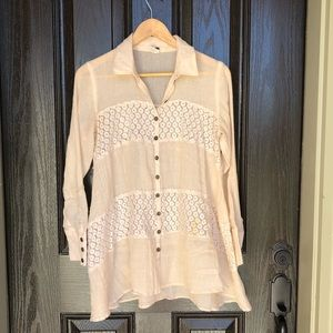 Free People Cotton Long Sleeve Button Up